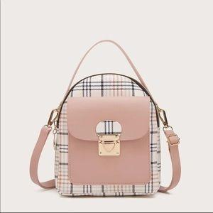 Handbags - Push Lock Plaid Backpack
